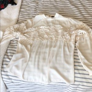 Cream, long-sleeved Express blouse. Size S